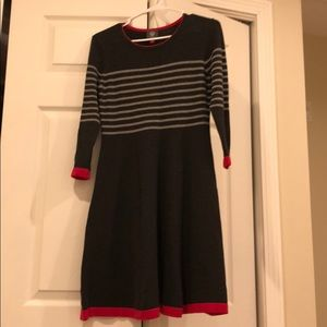 Vince Camuto grey striped sweater dress